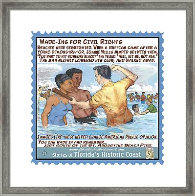 Wade-ins For Civil Rights Framed Print by Warren Clark
