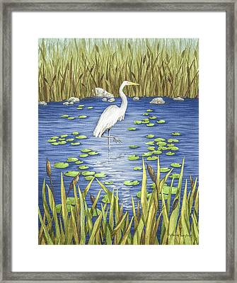 Wading And Watching Framed Print