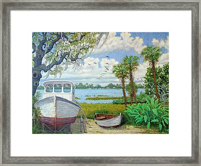 Framed Print featuring the painting Wadmalaw Boats by Dwain Ray