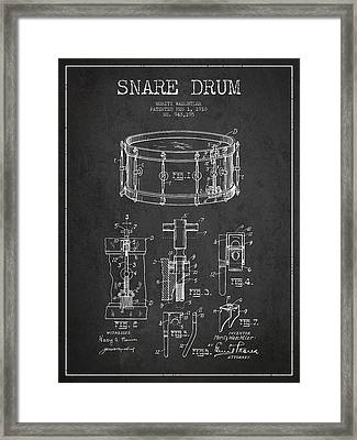 Waechtler Snare Drum Patent Drawing From 1910 - Dark Framed Print by Aged Pixel