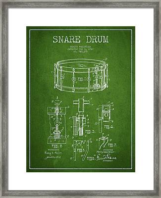 Waechtler Snare Drum Patent Drawing From 1910 - Green Framed Print