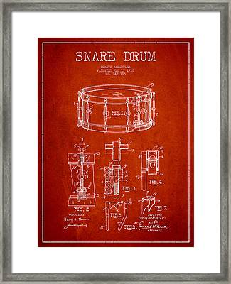 Waechtler Snare Drum Patent Drawing From 1910 - Red Framed Print