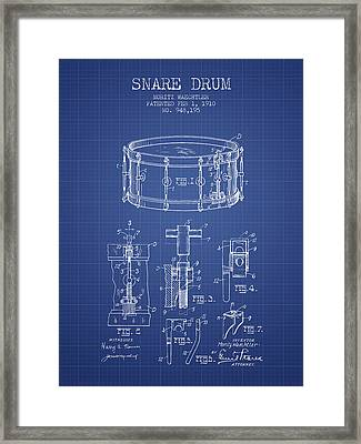 Waechtler Snare Drum Patent From 1910 - Blueprint Framed Print by Aged Pixel