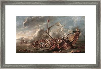 Wael, Cornelis De 1592 - 1667. Naval Framed Print