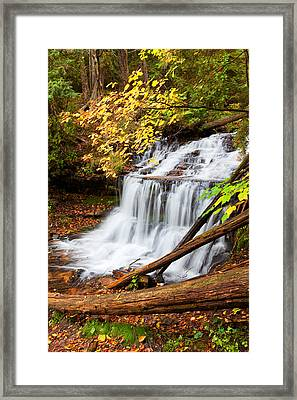 Wagner Falls In Autumn Framed Print by Craig Sterken