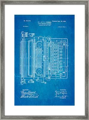 Wagner Type Writing Machine Patent Art 1899 Blueprint Framed Print
