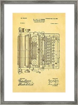 Wagner Type Writing Machine Patent Art 1899 Framed Print