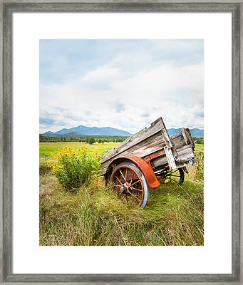 Wagon And Wildflowers - Vertical Composition Framed Print