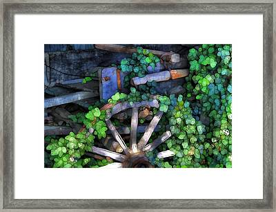 Wagon Wheel And Ivy Abstract Framed Print by Dan Sproul