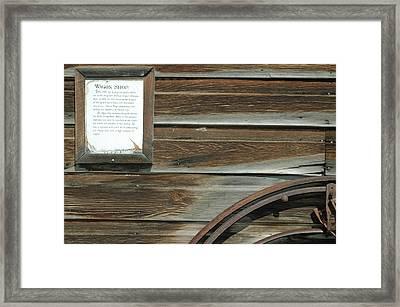 Wagon Wheel And Wagon Shop Nevada City Montana Framed Print