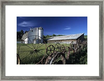Wagon Wheel Barn Framed Print by Latah Trail Foundation