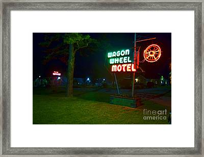 Framed Print featuring the photograph Wagon Wheel Motel by Utopia Concepts