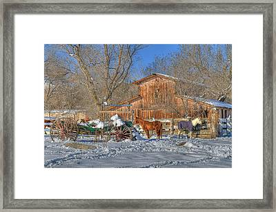Wagons And Horses Framed Print by Donna Kennedy