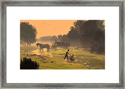 Wagons Barrels And Burlap Framed Print by Dieter Carlton