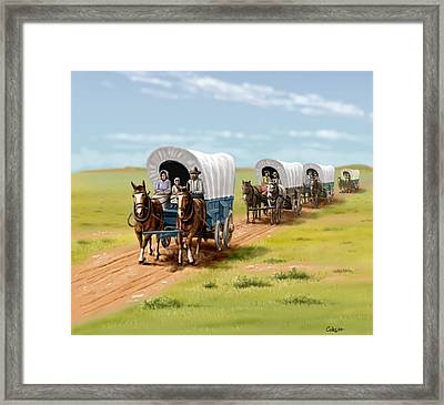 Wagons West Establish Grapevine Texas - Wagon Train Framed Print by Walt Curlee