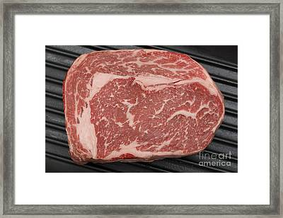 Wagyu Beef Steak In A Pan From Above Framed Print by Paul Cowan