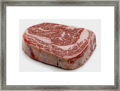 Wagyu Ribeye Steak Raw Framed Print by Paul Cowan