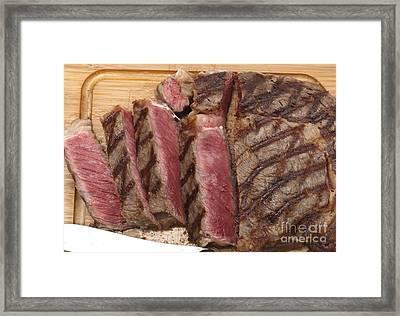 Wagyu Steak Cut On Board Framed Print by Paul Cowan