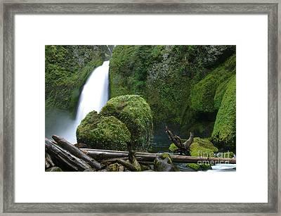 Wahclella Falls And Boulder Framed Print