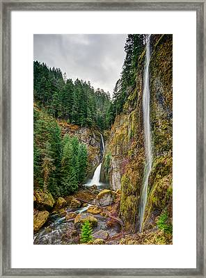 Framed Print featuring the photograph Wahclella Falls by Brian Bonham