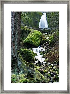 Wahkeena Falls And Creek, Columbia Framed Print by Michel Hersen