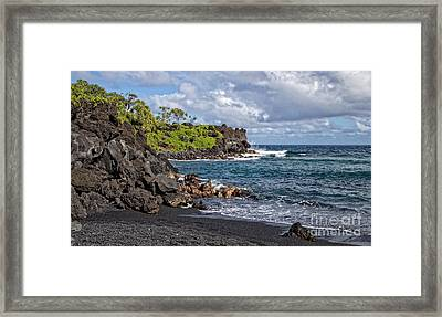 Waianapanapa State Park's Black Sand Beach Maui Hawaii Framed Print by Edward Fielding