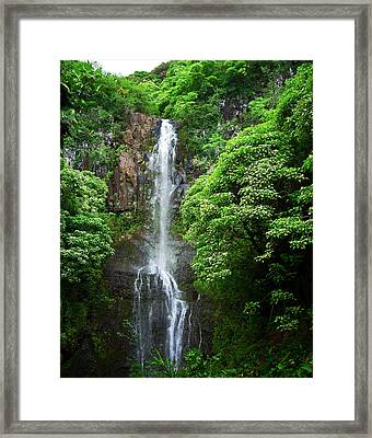 Framed Print featuring the photograph Waikani Falls At Wailua Maui Hawaii by Connie Fox