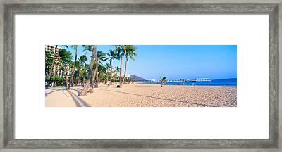 Waikiki Beach And Diamond Head Framed Print by Panoramic Images