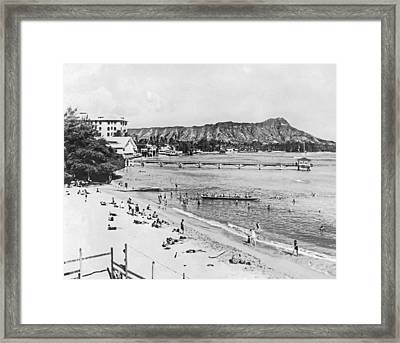 Waikiki Beach And Diamond Head Framed Print by Underwood Archives