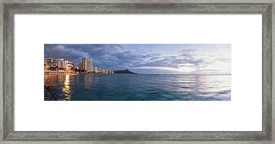 Waikiki Beach Basking In The Last Framed Print by Ian Ludwig