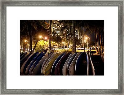 Waikiki Beach By Night Framed Print by Daisy Gilardini