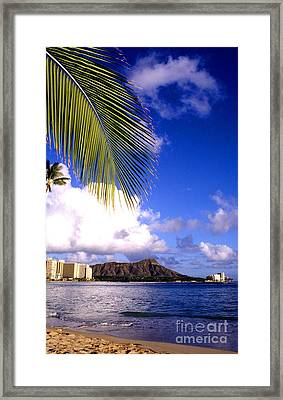 Waikiki Beach Diamond Head Framed Print