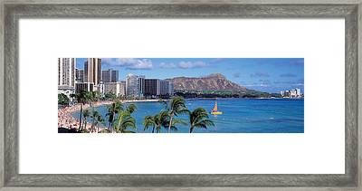 Waikiki Beach, Honolulu, Hawaii, Usa Framed Print by Panoramic Images