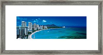 Waikiki Beach Honolulu Oahu Hi Usa Framed Print by Panoramic Images