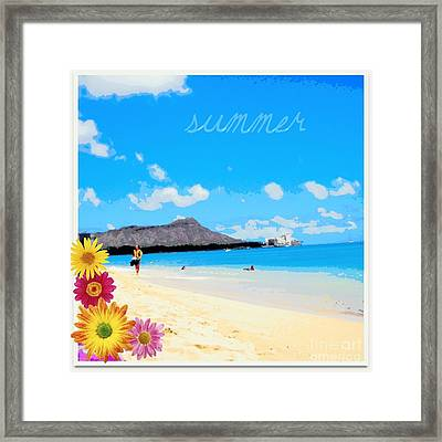 Framed Print featuring the photograph Waikiki Beach by Mindy Bench