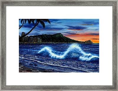 Waikiki Beach Sunset Framed Print
