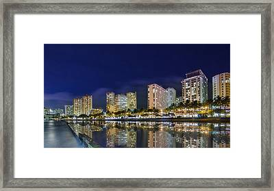 Waikiki Cityscape At Night  Framed Print