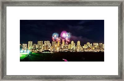 Waikiki Fireworks Celebration 2 Framed Print by Jason Chu