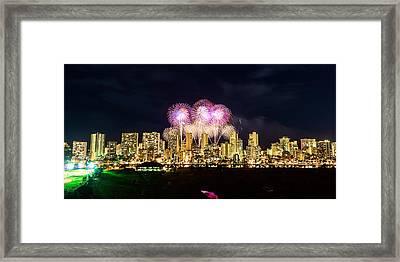Waikiki Fireworks Celebration 5 Framed Print by Jason Chu