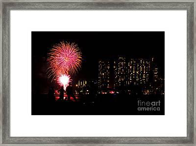 Waikiki Fireworks Framed Print
