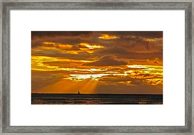 Framed Print featuring the photograph Waikiki Sun Set by John Johnson