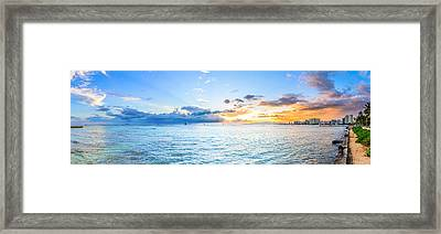 Waikiki Sunset After An Afternoon Thunderstorm Framed Print