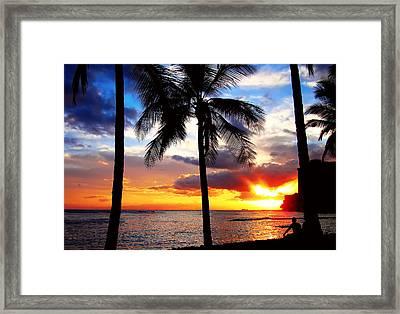 Waikiki Sunset Framed Print by Kara  Stewart