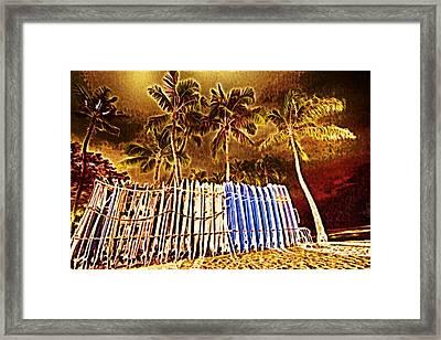 Waikiki Surf- Hawaii Framed Print by Douglas Barnard