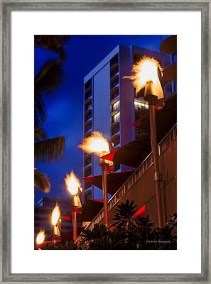 Framed Print featuring the photograph Waikiki Tiki Torches by Aloha Art