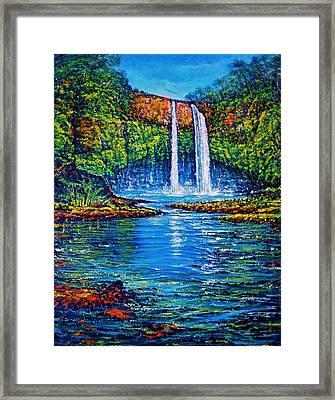 Wailua Falls Kauai Framed Print by Joseph   Ruff