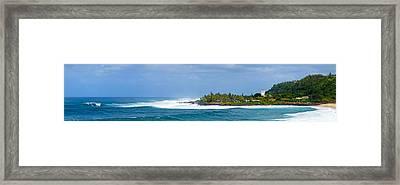 Waimea Bay Panorama Framed Print by Kevin Smith