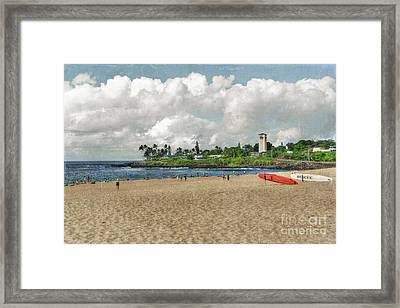 Waimea Beach Park In Hawaii Framed Print
