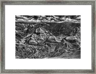Waimea Canyon Lookout Black And White Framed Print by Douglas Barnard