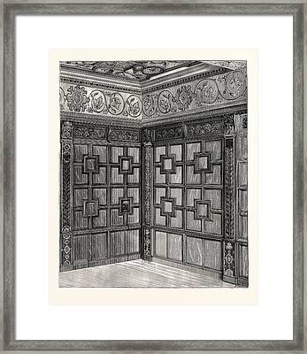 Wainscot And Pargetry, Carbrooke Hall, A Historic House Framed Print